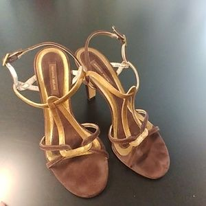 Antonio Melani Brown and gold heels size 7
